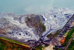 Coal ash lagoon at Duke Energy's Riverbend Power Station on Mountain Island Lake.