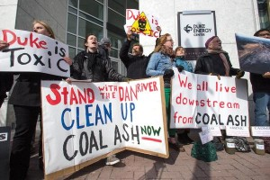 A protest organized by Charlotte Environmental Action Group gathered outside Duke Energy's headquarters on Feb. 6. Source: Charlotte Business Journal