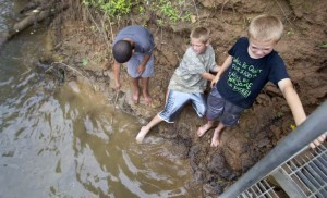 Local kids play in the Dan River at Draper Landing, where sediment samples show toxic coal ash deposits lurking just below the water's surface. Photo source: Greensboro News & Record
