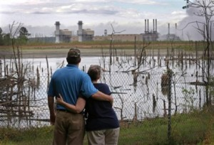 Bryant and Sherry Gobble live next door to one of Duke Energy's coal ash impoundment at the Buck Steam Station in Dukeville, NC. Duke and North Carolina environmental regulators have known since 2011 that the dumpsite has been polluting groundwater with toxic substances, but have taken no action to stop pollution or warn neighbors of the danger. Photo source: AP